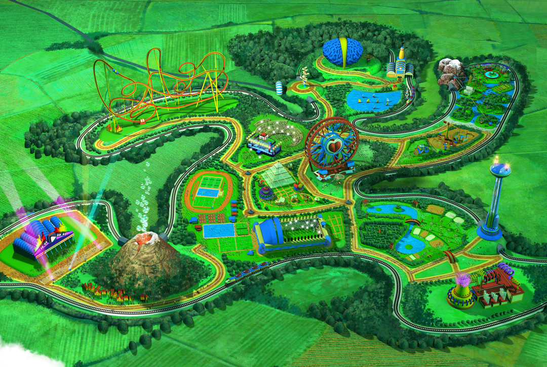Activilandia Virtual Theme Park. Detalle de la Vista general. Art by Román García Mora.