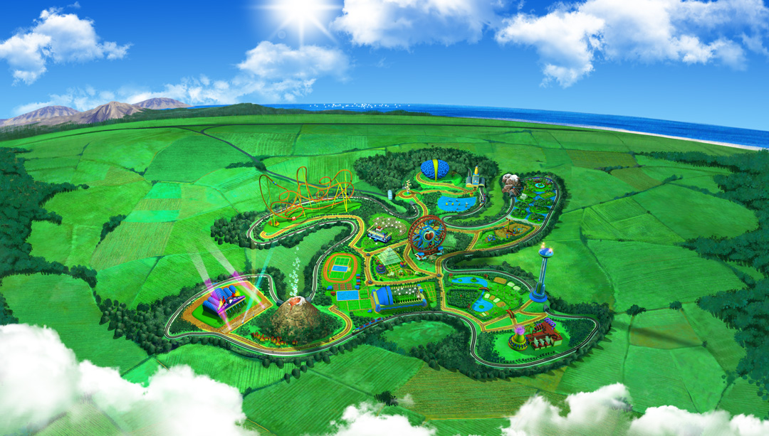 Activilandia Virtual Theme Park. Vista general. Art by Román García Mora.