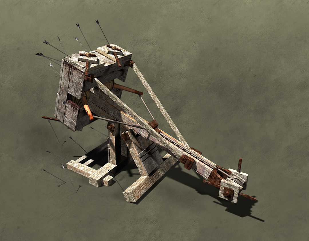 Ballista, greek war machine infographic. Back detail. Art by Román García Mora.