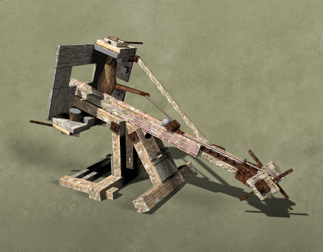 Ballista, greek war machine infographic. Inner structure. Art by Román García Mora.