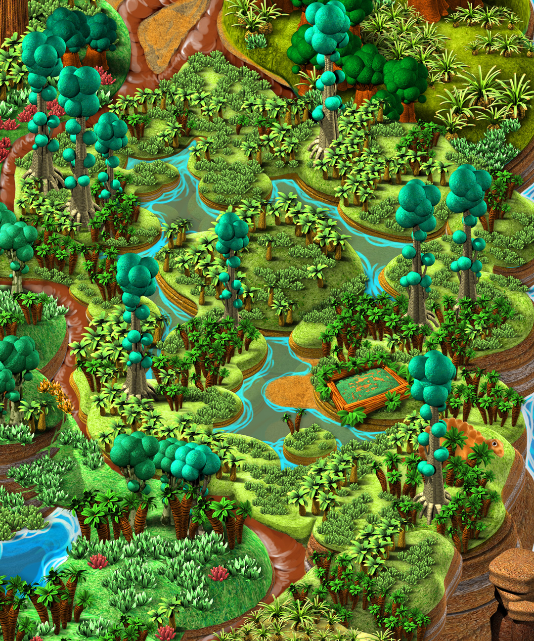 Mundo Dinosaurus, Interactive website. Stegosaur´s swamp detail. Art by Román García Mora.