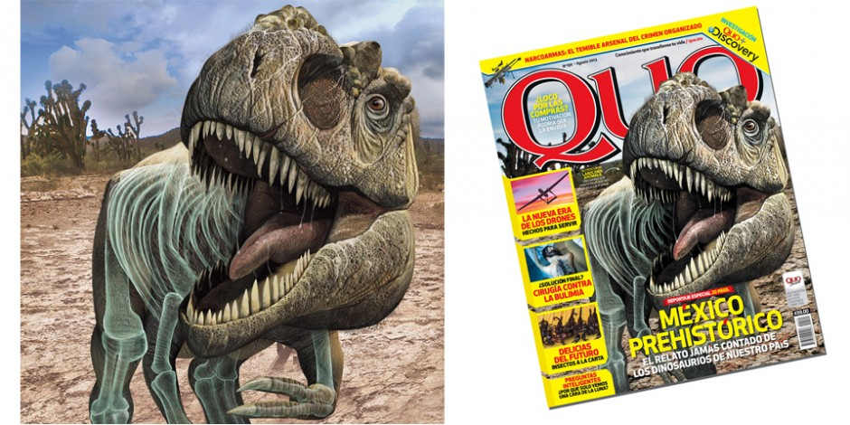 Mexican Dinosaurs, Quo Magazine August 2013. Art by Román García Mora.