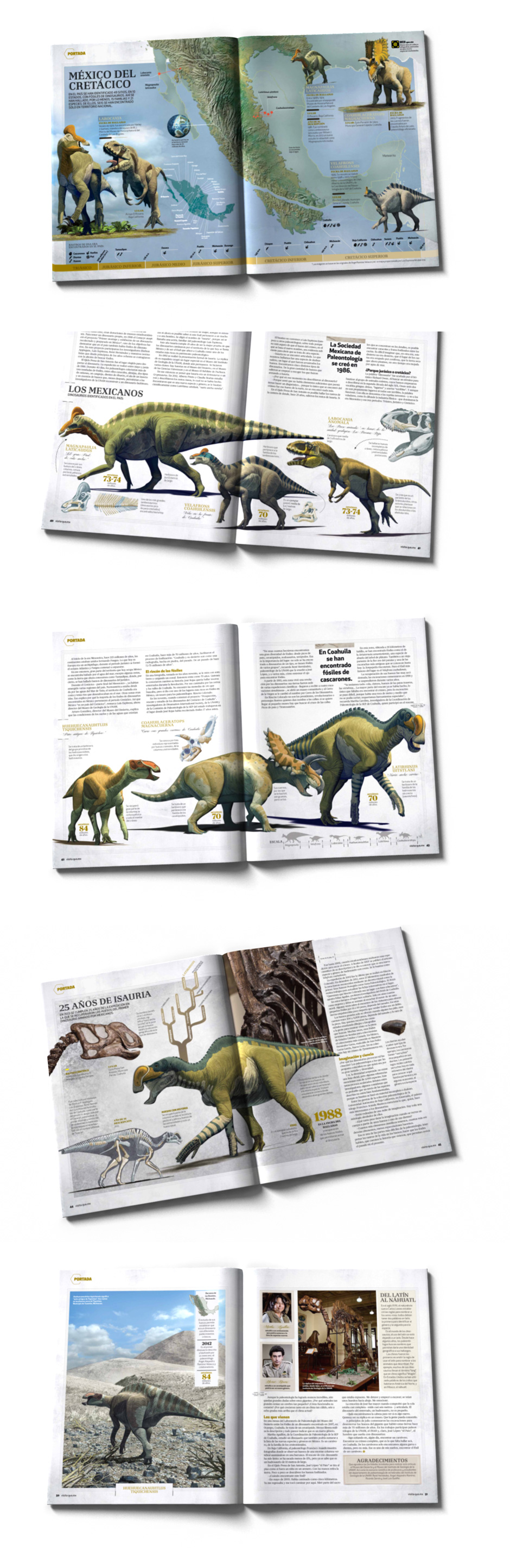 Mexican Dinosaurs, Quo Magazine August 2013. Interior pages of the article. Art by Román García Mora.