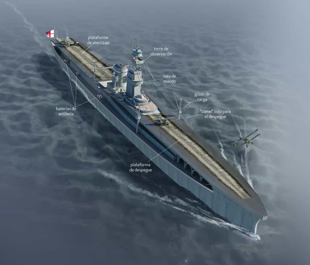 World War One Technology, Quo Magazine July 2014. HMS Furious, the first aircraft carrier. Art by Román García Mora.