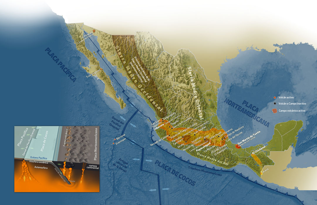Mexican volcanoes, Quo Magazine January 2014. Map of volcanic regions in Mexico. Art by Román García Mora.