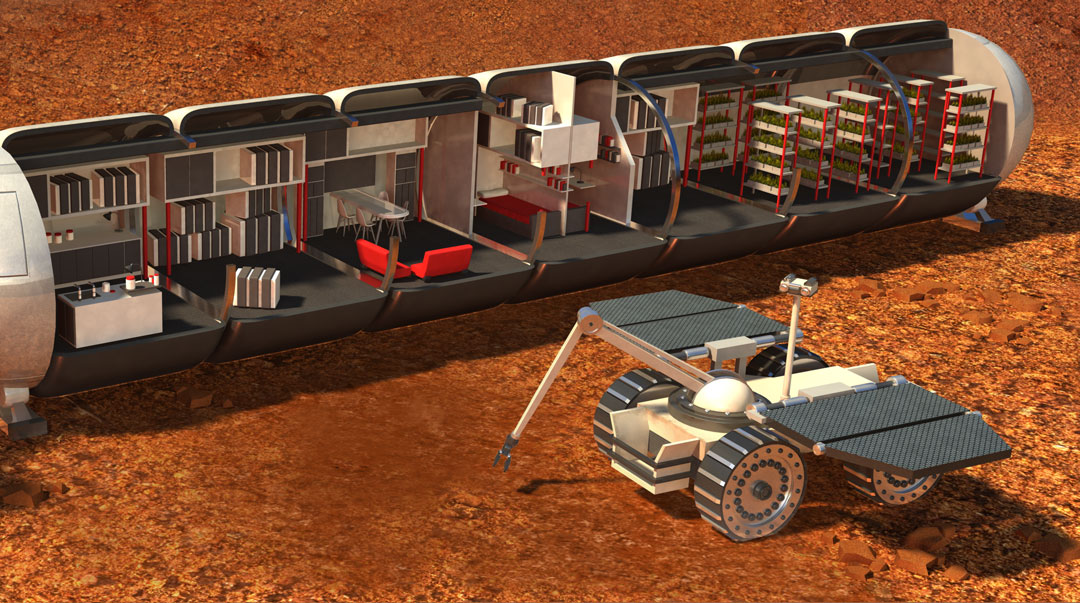 Mars One Technology, Quo Magazine August 2014. Interior of the Living Unit and Mars One Rover. Art by Román garcía Mora.