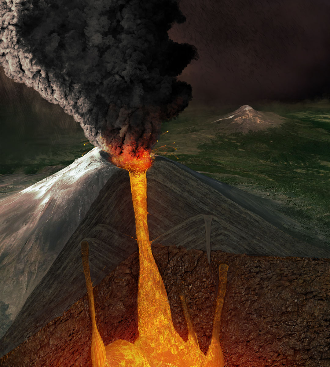 Mexican volcanoes, Quo Magazine January 2014. Popocatepetl, active stratovolcano. Art by Román García Mora.