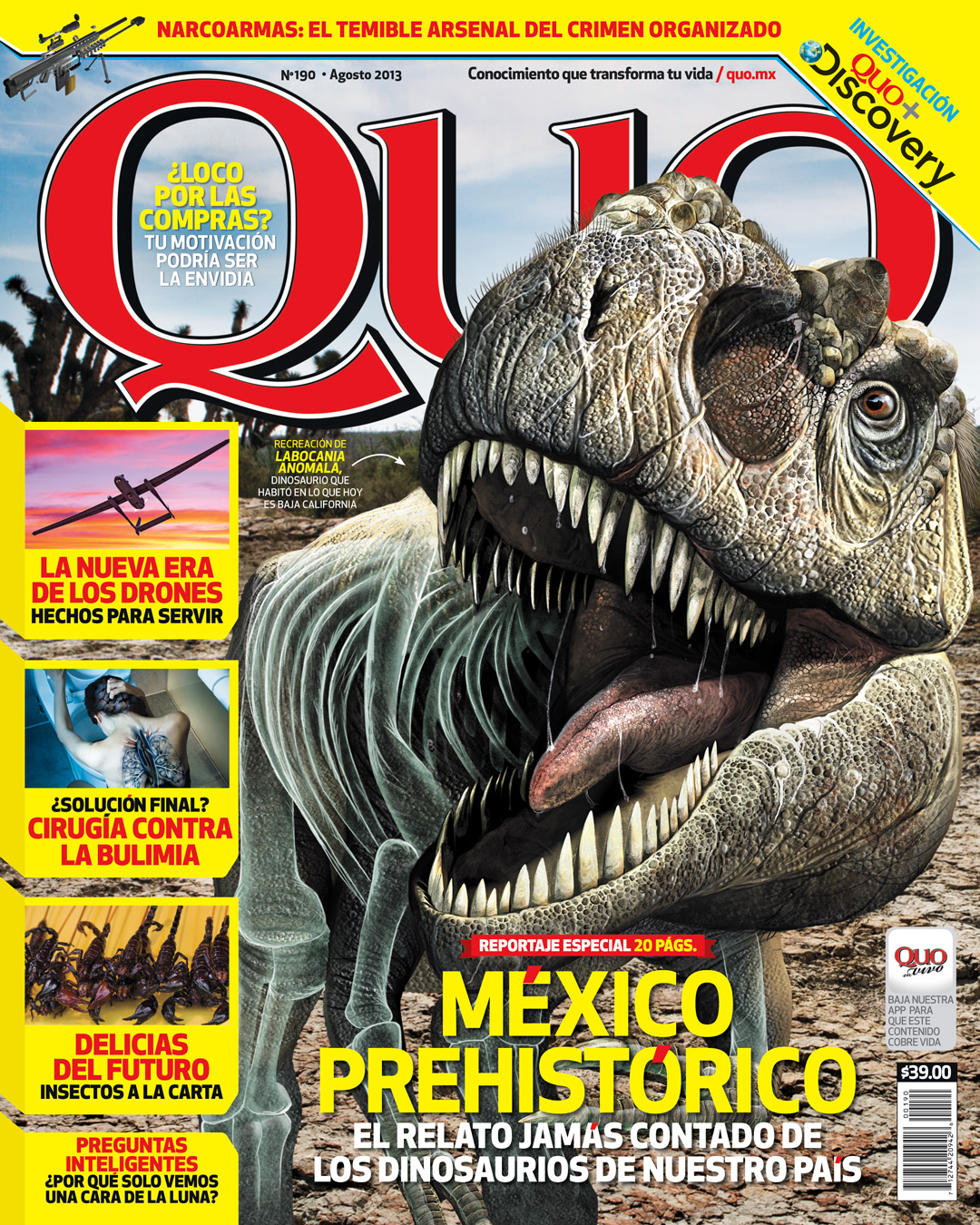 Mexican Dinosaurs, Quo Magazine August 2013. Cover Quo Magazine August 2013, with Labocania anomala. Art by Román García Mora.