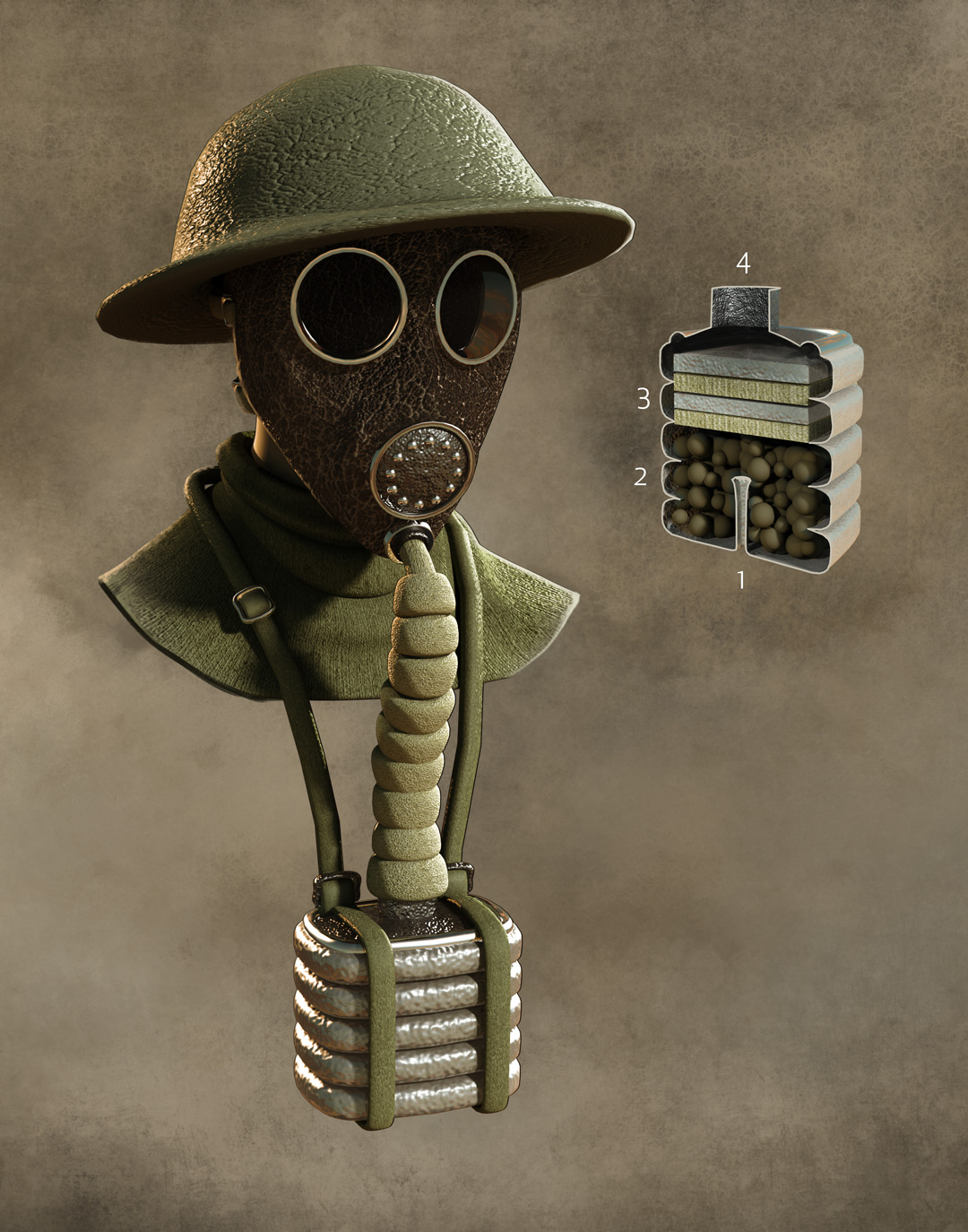 World War One Technology, Quo Magazine July 2014. Detail of the Small Box Respirator. Art by Román García Mora.