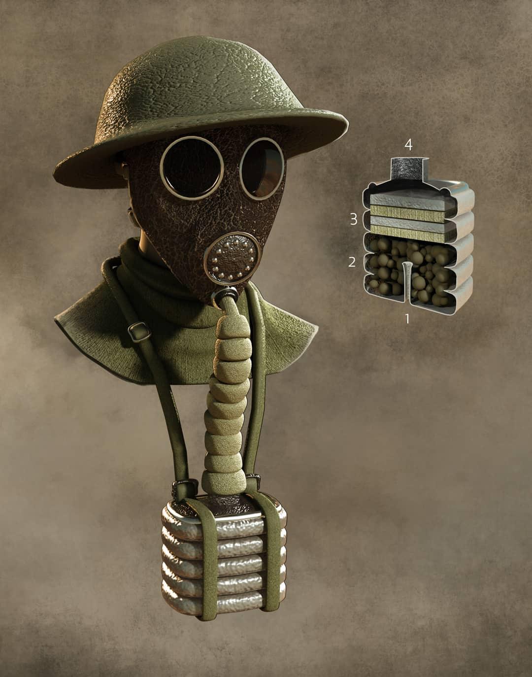 World War One Technology, Quo Magazine July 2014. Detail of the Small Box Respirator. Art by Román García Mora.