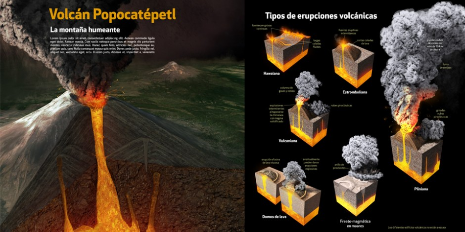 Mexican volcanoes, Quo Magazine January 2014. Art by Román García Mora.