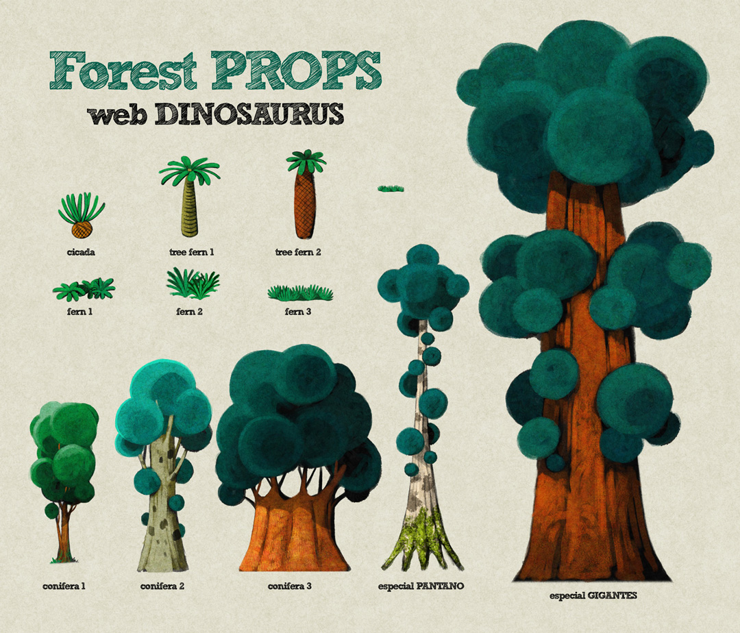 Mundo Dinosaurus, Interactive website. Forest elements concepts. Art by Román García Mora.