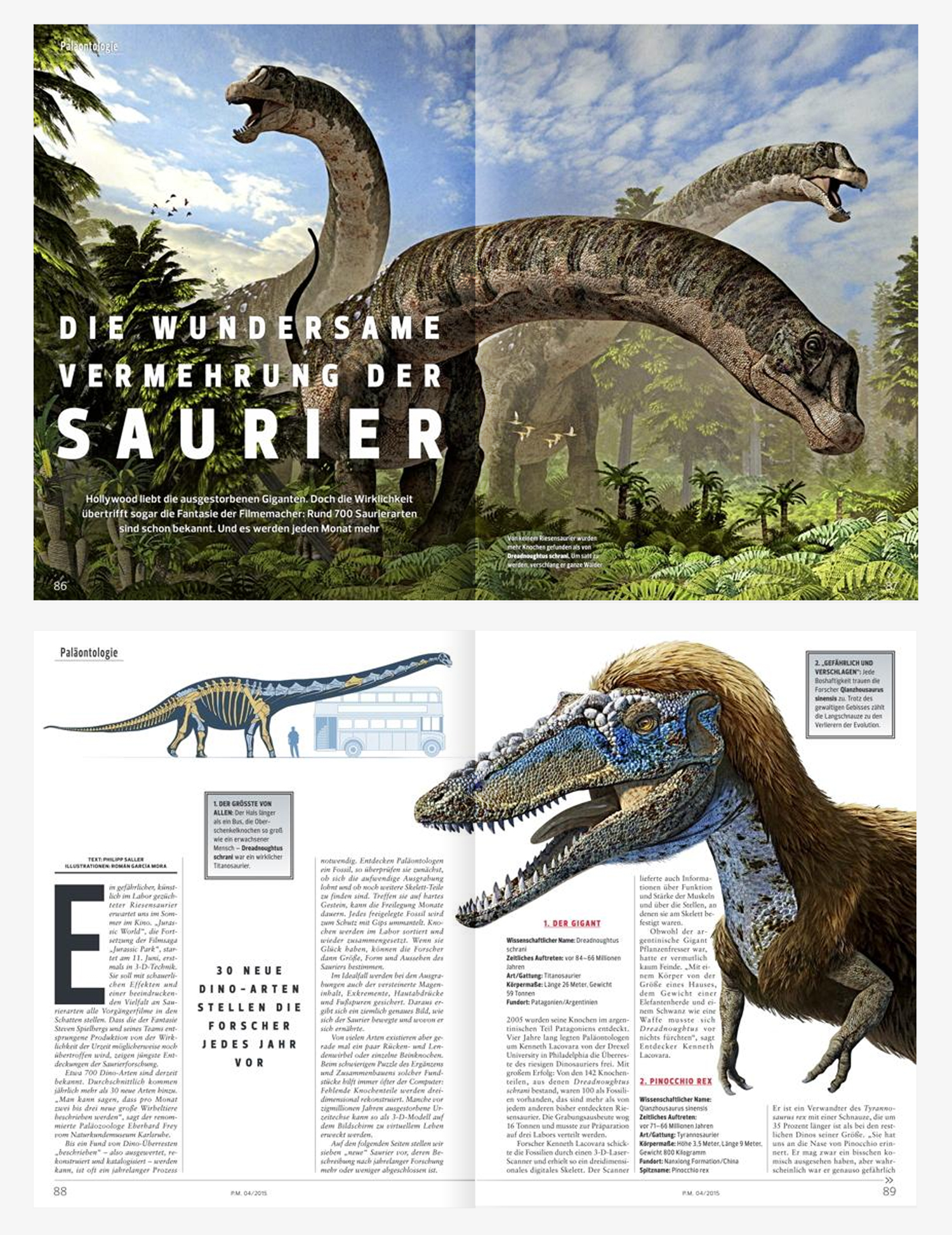 New Stars in the Dinosaur World, PM Magazin April 2015. First pages of the issue. Art by Román García Mora.