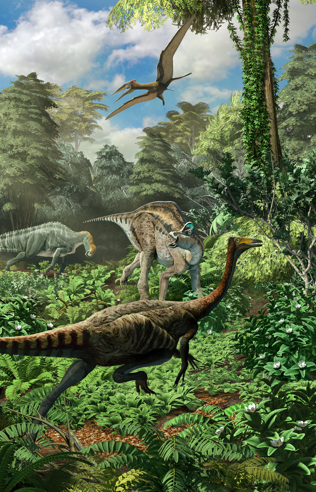 Coahuila Dinosaurs, Mexico Desconocido Magazine. Diorama detail, Saltillomimus, Velafrons and Lathirhinus. Art by Román García Mora.