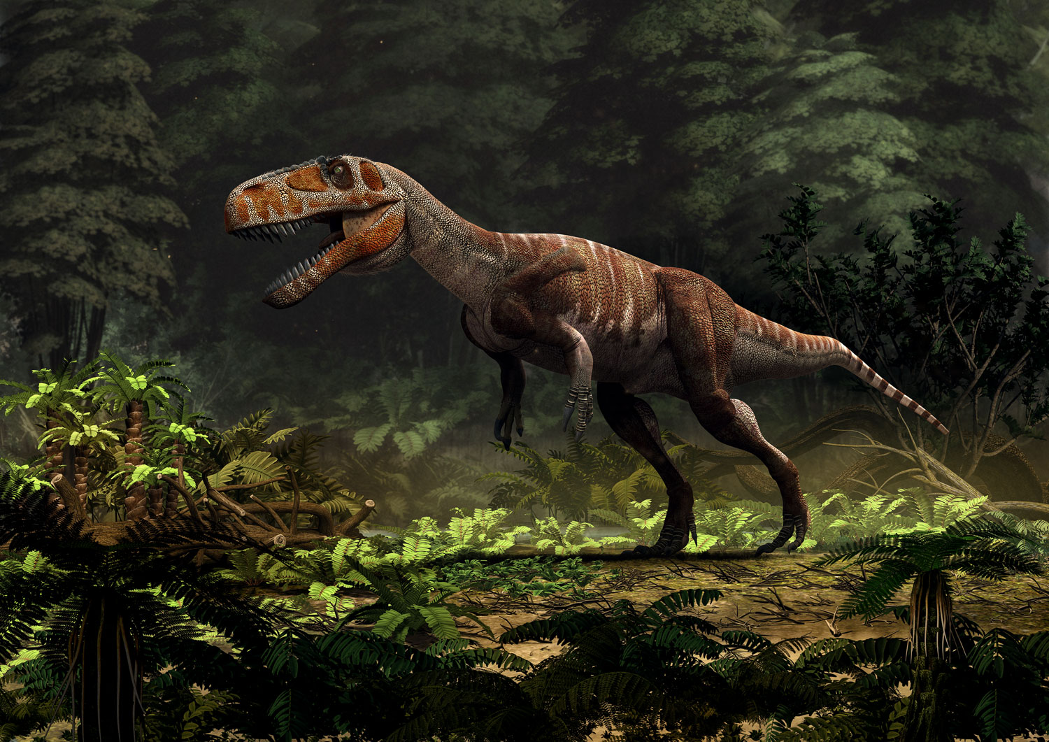 New Stars in the Dinosaur World, PM Magazin April 2015. Torvosaurus gurneyi. Art by Román García Mora.