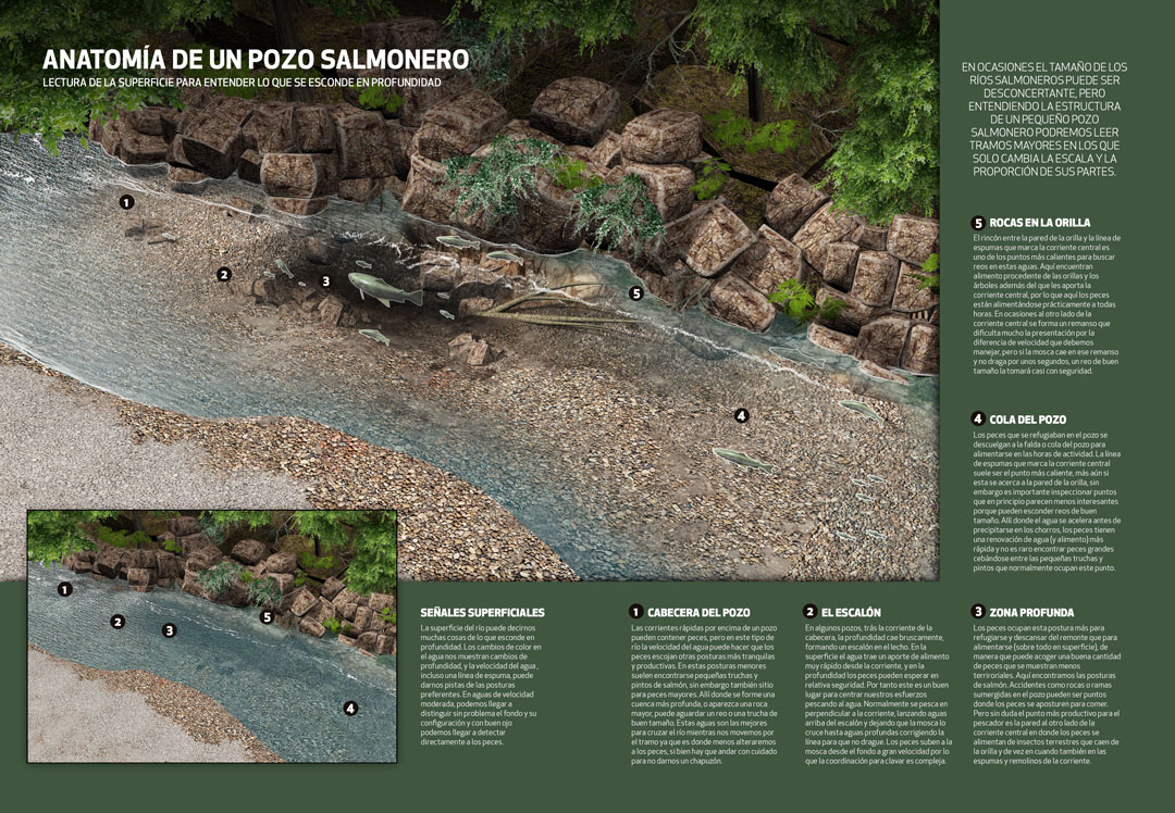 Fly Fishing Projects. Salmon Pool Structure. Art by Román García Mora.